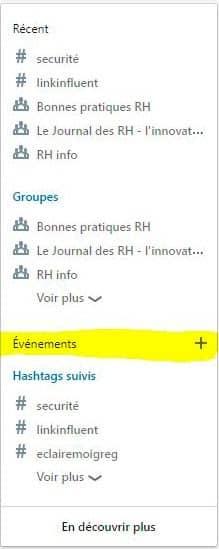 créer la page de l'événement LinkedIn