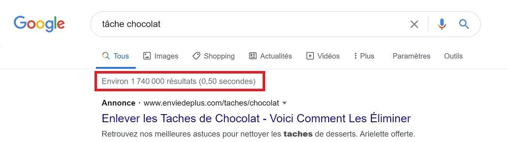 """page des résultats pour la requête """"tâche chocolat"""""""