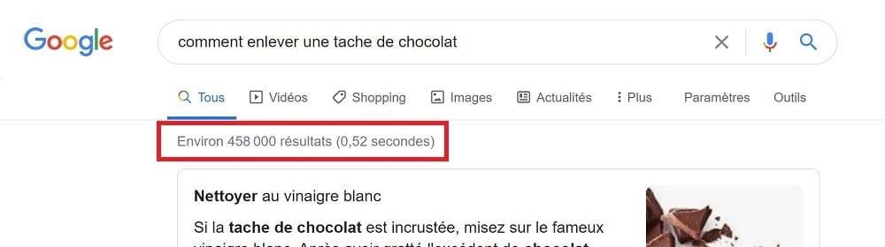 """pour une requête plus longue et plus précise sur le même sujet comme """"comment enlever une tache de chocolat"""", les chiffres sont totalement différents"""