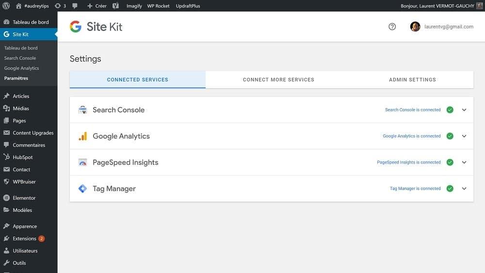 Quels sont les services Google intégrés à Site Kit ?